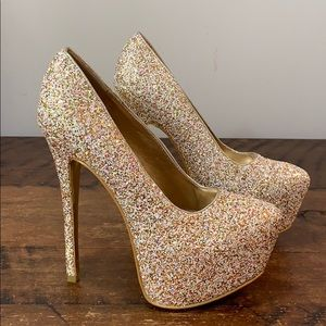 ALBA Gold Multi Color Glitter Sparkle Pumps Heels